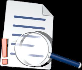 3D Grafik Icon Dokument Ausrufezeichen Lupe
