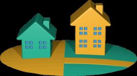 Grafik Icon 3D zwei Grundstücke mit Häusern