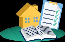 Grafik Icon 3D Haus Grundstück Immobilie Grundbuch Liste