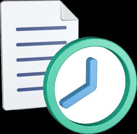 3D Grafik Icon Dokument Uhr