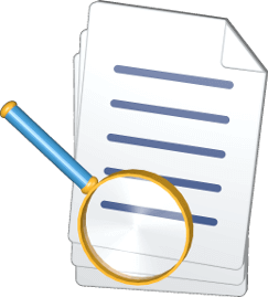 3D Icon Grafik Dokumente Lupe