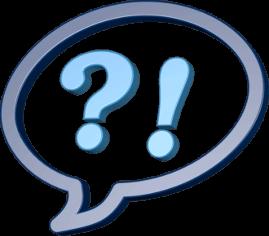 Grafik 3D Icon Sprechblase Fragezeichen Ausrufezeichen
