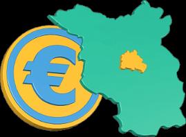 3D Grafik Icon Karte Berlin Brandenburg Euro Münze Geld