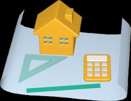 Icon 3D Grafik Grundstück Plan Haus Immobilie Taschenrechner