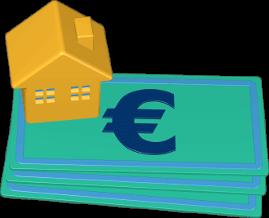 Grafik Icon 3D Geldscheine Euro Haus