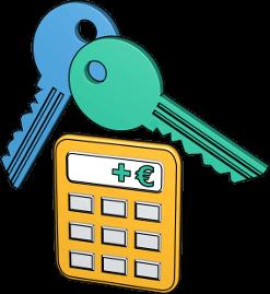 3D Grafik Icon Taschenrechner 2 Schlüssel