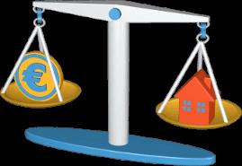 3D Icon Grafik Waage Geld Euro Haus Immobilie
