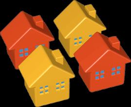 Grafik 3D Icon 4 Häuser Reihenhaus