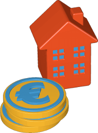 Grafik 3D Icon Haus Geldmünzen Euro