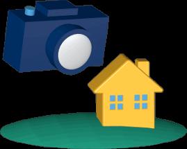 Grafik Icon 3D Kamera Immobilie Haus Grundstück