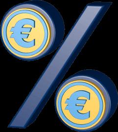 Grafik 3D Icon Prozentzeichen mit Eurosymbol