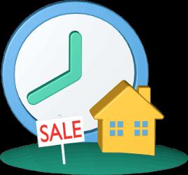 Icon 3D Grafik Immobilie Haus Grundstück zu Verkaufen Sale Zeit Uhr