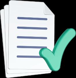 3D Grafik Icon Dokumente Häkchen abgehakt