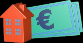 3D Icon Grafik Haus Immobilie Geldscheine Euro