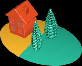 Grafik Icon 3D Grundstücke Haus Bäume