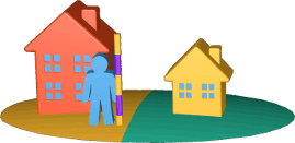 3D Grafik Icon zwei Grundstücke mit Häusern Person Grenzvermessung