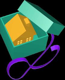 Icon 3D Grafik Haus in Geschenkverpackung