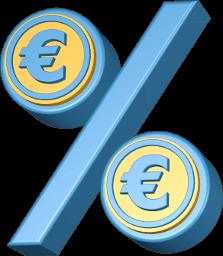 3D Grafik Icon Prozentzeichen mit Eurozeichen