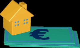 Icon 3D Grafik Haus auf Geldscheinen
