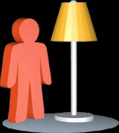 Grafik Icon 3D Stehlampe Person