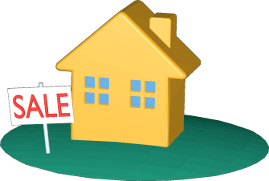 3D Icon Grafik Grundstück Haus Immobilie mit Sale-Schild