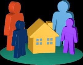 Icon 3D Grafik Haus Immobilien Personen Kinder