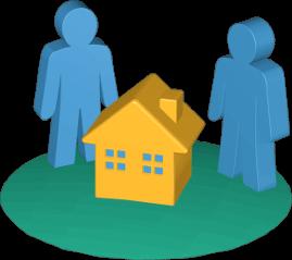Icon 3D Grafik Grundstück Haus 2 Personen