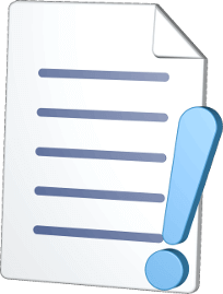 3D Icon Grafik Dokument Ausrufezeichen