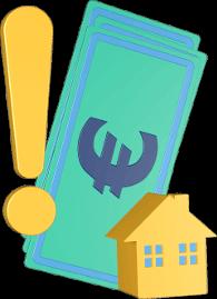 3D Grafik Icon Geld Haus Ausrufezeichen