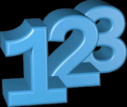 3D Grafik Icon Zahlen 1-2-3