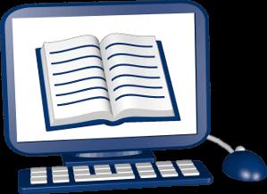 Computer PC mit Buch