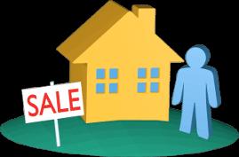 3D Grafik Icon Haus Grundstück zu Verkaufen Mensch