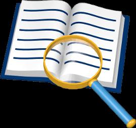 3D Grafik Icon Buch Lupe