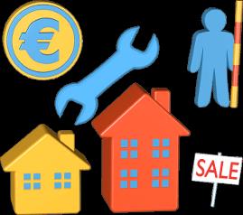 Aufgaben Immobilienmakler Geld Sale-Schild Werkzeug Messstab Person
