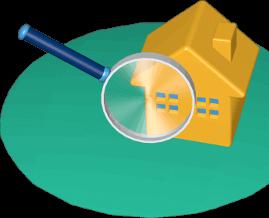 Icon 3D Grafik Grundstück Haus Immobilie unter der Lupe