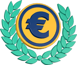 Grafik 3D Icon Eurozeichen Geld Lorbeerkranz