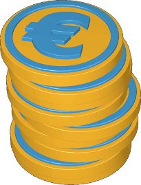 3D Icon Grafik Stapel Münzen Euro