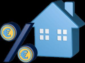 Grafik Icon 3D Haus Prozentzeichen Euro Geld
