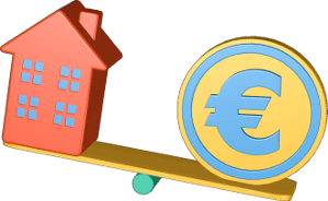 Icon 3D Grafik Mehrfamilienhaus Wippe Geld