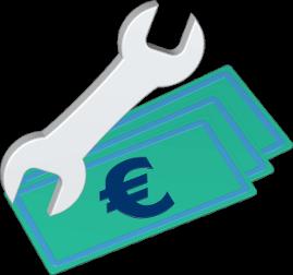 3D Icon Grafik Geldscheine Schraubenschlüssel Werkzeug