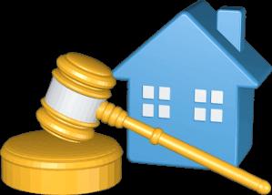 3D Grafik Icon Versteigerung Haus Immobilie unterm Hammer