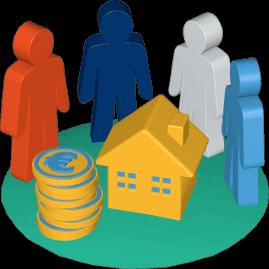 Grafik Icon 3D Erben Immobilie Haus Grundstück Geld