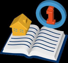 Grafik Icon 3D Grundbuch Haus Immobilie Information