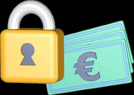 Grafik 3D Icon Vorhängeschloss Euro Geldscheine