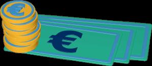 3D Icon Grafik Geld Münzen Scheine Euro