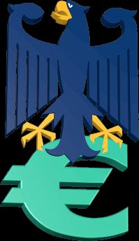 3D Grafik Icon Bundesadler Eurozeichen Geld Steuer