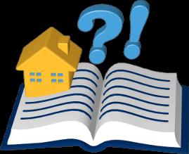 Icon 3D Grafik Haus Immobilie Grundbuch Fragezeichen Ausrufezeichen
