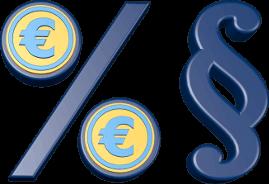 3D Grafik Icon Prozentzeichen Eurozeichen Paragraphenzeichen