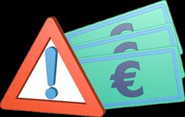 3D Icon Grafik Warnschild Euroscheine Geld