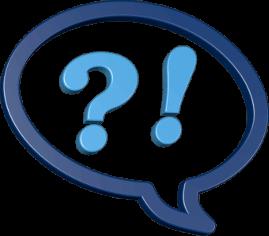 Icon 3D Grafik Sprechblase Fragezeichen Ausrufezeichen